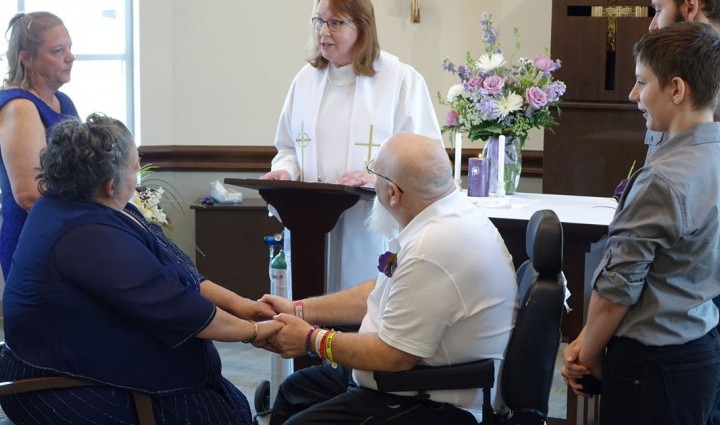Bubba Kuenning and Carol Matson tied the knot in front of family, friends and Madonna staff at the Omaha Campus chapel with Chaplain Joan Frenzel presiding over the ceremony.