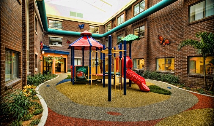 The Alexis Verzal Children's Rehabilitation Unit indoor playground, located at Lincoln Campus.
