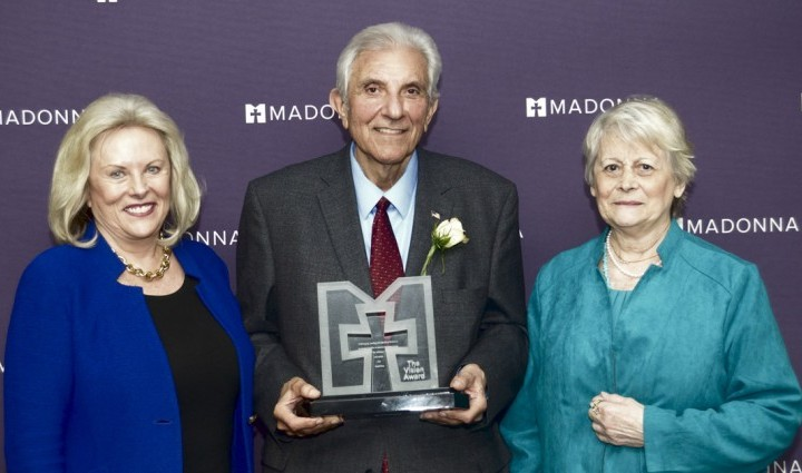 Tony Acone celebrates his Vision Award with Linda Childears, President and CEO of the Daniels Fund (left), and his wife, Sonnie (right).