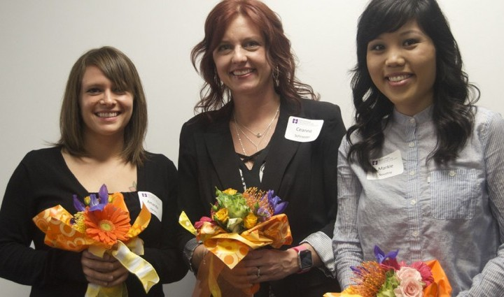 Amanda Harvey, Ceanna Schroeder and Markie Novotny (left to right) celebrate their nursing scholarship awards.