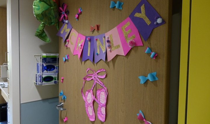 Madonna pediatric staff welcomed McKinley with a dance-themed door decoration to kick off her inpatient rehabilitation.