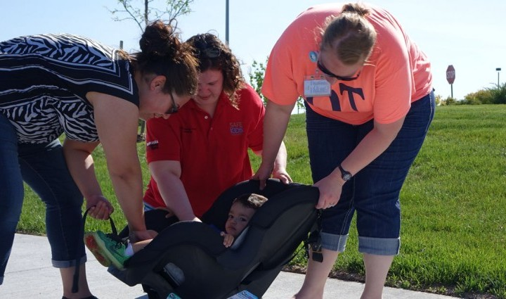 Abby Pauley, a Madonna occupational therapist and certified car seat tech, gave thorough inspections at her checkpoint with her partner, Maggie Ferguson, of Children's Hospital and Medical Center.