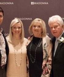 Bill Kubly (right), celebrates his Vision Award with (from left) his son-in-law and daughter (Madonna Foundation Board Member) Lauren Pugliese, and his wife, Myrna.