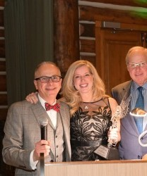 Madonna President and CEO Paul Dongilli, PH.D., (left) presented the Crystal Angel Award to Lisa and Tom Smith at the inaugural Miracle Night for Madonna.