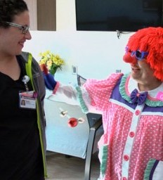 Stroke survivor dresses as clown as part of therapy