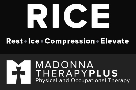 For sprains and strains, remember RICE
